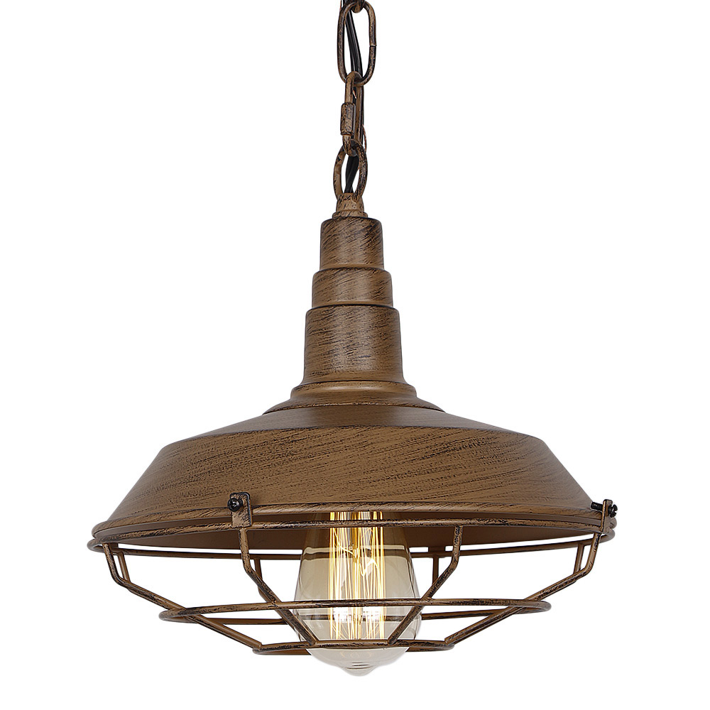 Industrial vintage metal pendant light with iron rust shade rustic retro edison incandescent or led vintage hanging light fixture